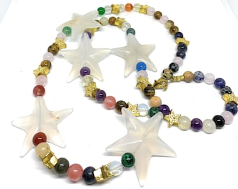 Multi gem beaded necklace, SPECIAL OFFER, colorful star motif necklace, layering long necklace