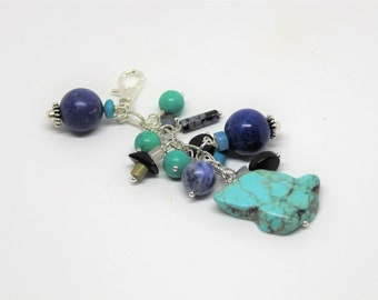 Turquoise purse dangle, gemstone zipper pull, Valentine's Day gift, blue purse accessory, gift idea, backpack accessory