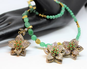 Emerald set, emerald necklace and earrings set, beaded necklace, jewel pendant necklace, flower necklace and earrings, statement set, gift