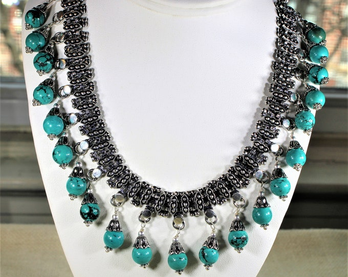 Turquoise necklace, beaded necklace, statement necklace, turquoise and silver choker, gift idea