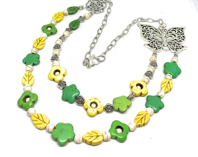 Green and yellow turquoise beaded necklace, colorful multi strand statement necklace, flowers and butterfly motif, unique accessory for her
