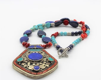 Turquoise and coral beaded necklace, Tibetan tribal pendant necklace, colorful statement necklace, Boho chic accessory, long necklace