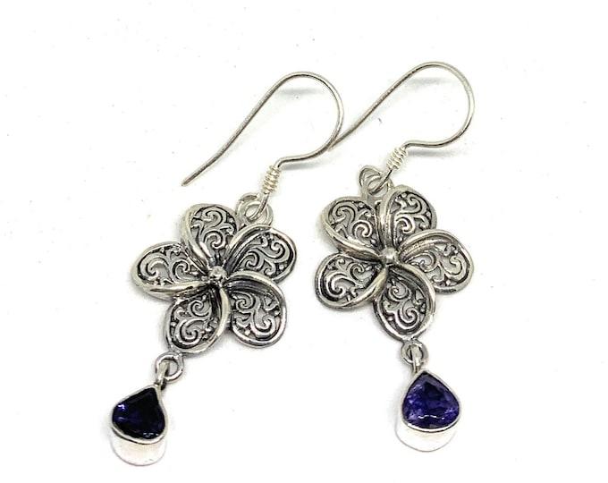 Sterling silver dangle earrings,SPECIAL OFFER, iolite drop earrings, flower motif earrings, unique gift idea for her, everyday accessory