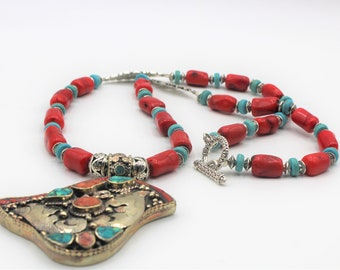 Long coral beaded necklace, whimsical pendant necklace,turquoise and coral statement necklace, silver bird motif pendant necklace