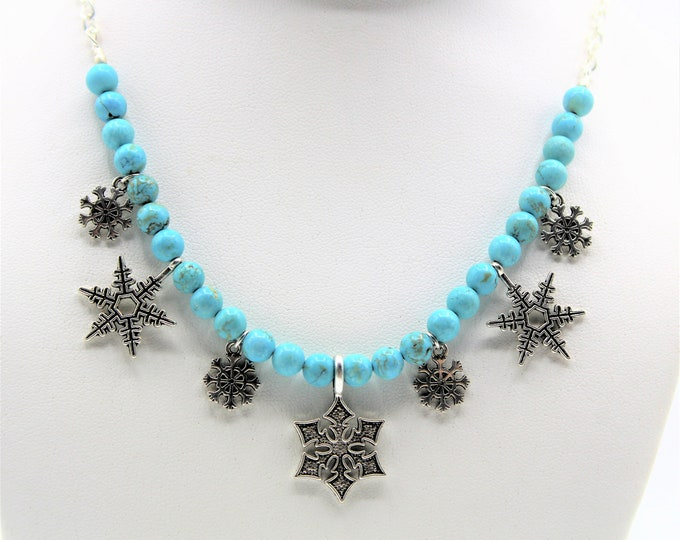 Turquoise beaded necklace, Valentine's day gift, silver snowflakes necklace, multi pendant choker, unique gift idea