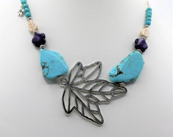Turquoise beaded necklace, SPECIAL OFFER, big leaf necklace, unique turquoise choker, statement necklace, unique gift idea for her