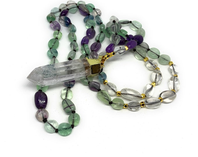 Colorful fluorite beaded necklace with crystal pendant, long hand knotted gem strand, multi color statement necklace