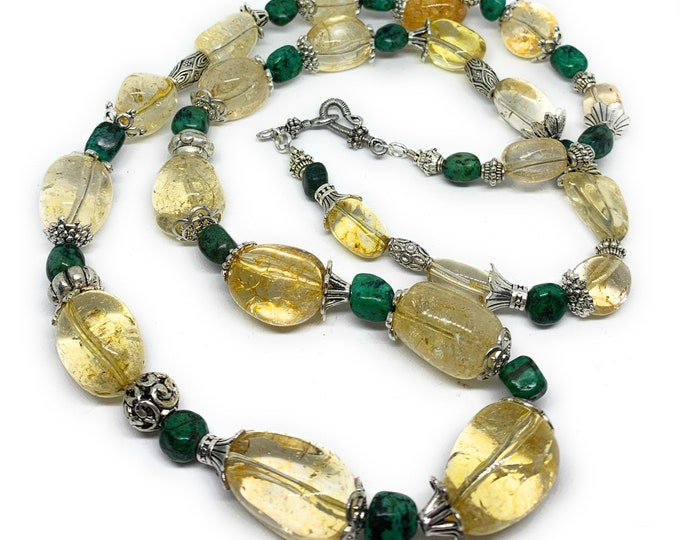 Long citrine beaded necklace, citrine and turquoise statement necklace, layering gemstone strand, elegant gift for her