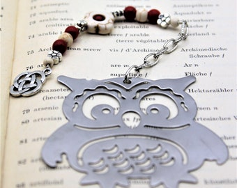 Beaded owl bookmark, gift for book lover, colorful bookmark, unique gift for grandpa, whimsical gift idea
