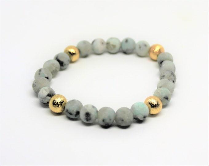 Gemstone beaded bracelet, frosted beads stacking bracelet, unique accessory, elegant gift for her, Mother's Day gift, layering bracelet