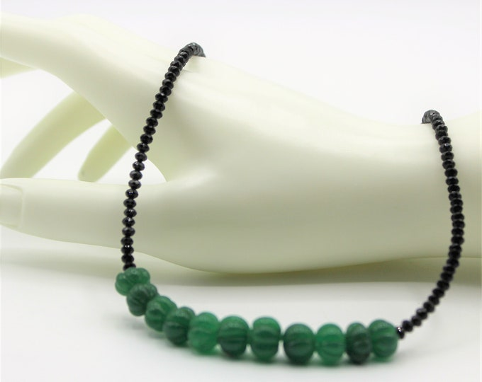 Natural emerald and black spinel necklace, minimalist precious stones necklace, plus size choker