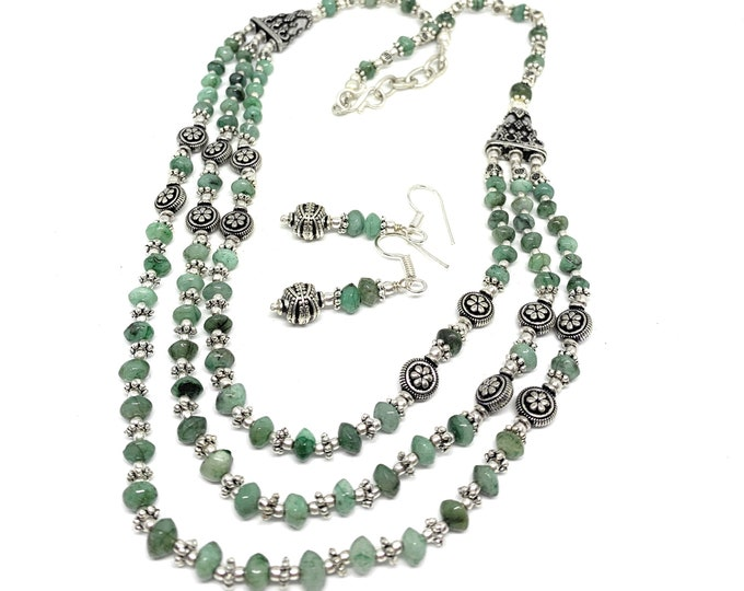 Raw emerald beaded multi strand necklace set, elegant statement two piece set, special jewelry set gift for women