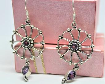 Amethyst drop earrings, SPECIAL OFFER, Sterling silver dangle earrings, purple accents earrings, flower motif accessory, gift idea for her