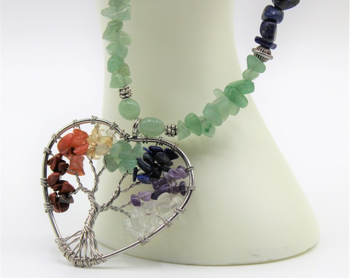 Colorful tree of life pendant beaded necklace,multi gem tree of life in a heart pendant necklace,long statement necklace,unique gift for her