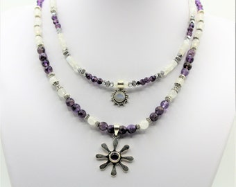 Amethyst and moonstone necklace, double strand necklace, double pendant necklace, unique gift idea for her, purple and silver necklace