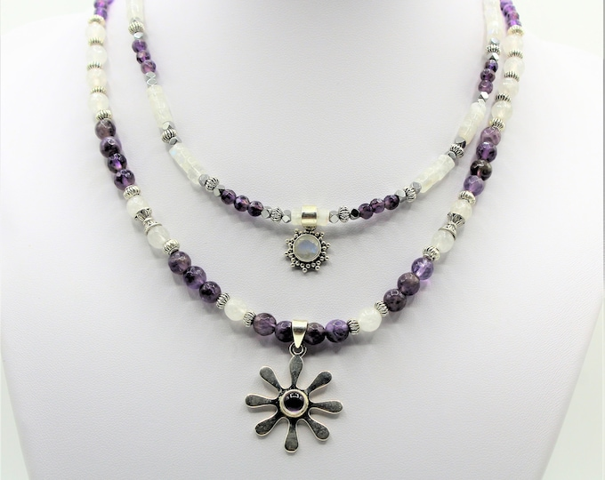 Amethyst and moonstone double strand necklace, double pendant purple and silver accessory,  delicate statement necklace, unique gift for her