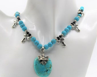 Turquoise pendant beaded necklace, elegant statement necklace, silver bow motif necklace, unique bridal accessory, mother of the bride gift