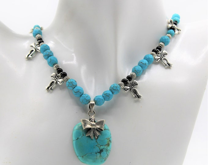 Turquoise pendant beaded statement necklace, silver bow motif necklace, unique bridal accessory, mother of the bride gift