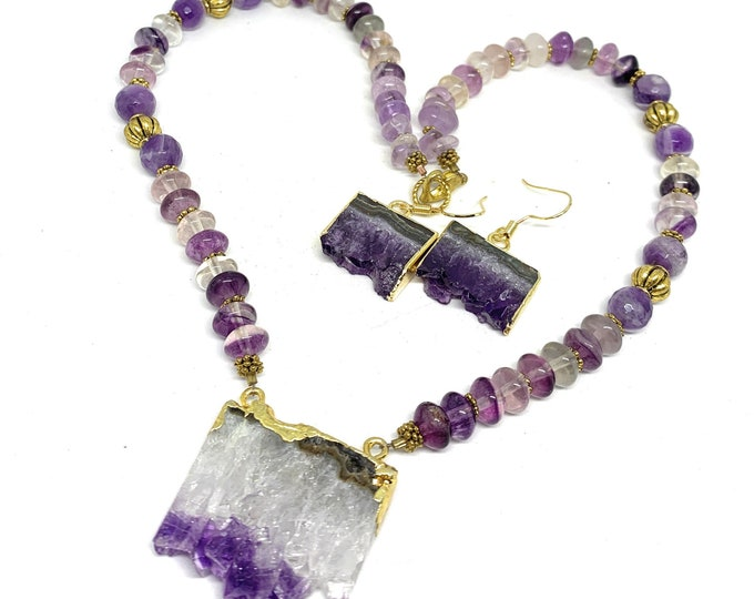 Amethyst Druzy geode pendant beaded necklace and earrings, statement two piece set, amethyst drop earrings in a set, gift for her
