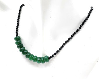 Emerald and black spinel beaded necklace, minimalist precious stones strand, plus size choker, delicate gemstone accessory, gift for her