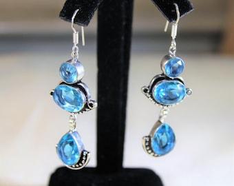 Blue topaz earrings, blue drop earrings, sterling silver earrings, gemstone dangle earrings, unique accessory, gift idea