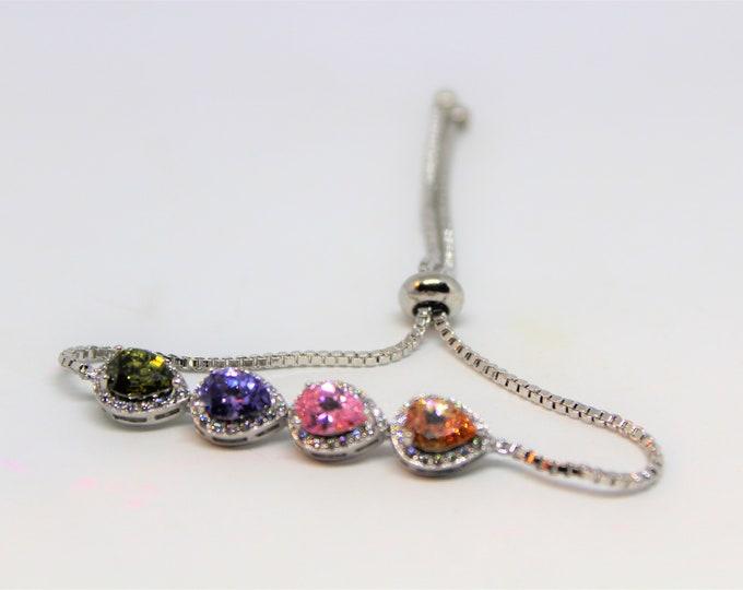 Multi stone bolo bracelet, multicolored gemstone bracelet, Sterling silver bracelet, glamour accessory, bridal accessory, gift for her