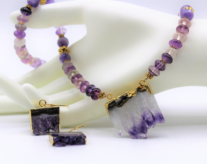 Amethyst set, Druzy geode pendant necklace and earrings, statement necklace set, amethyst drop earrings in a set