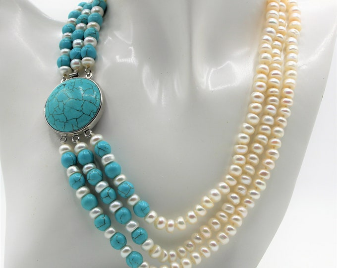 Pearl and turquoise elegant beaded necklace, classic glamour necklace, multi strand statement necklace, luxurious gift for women