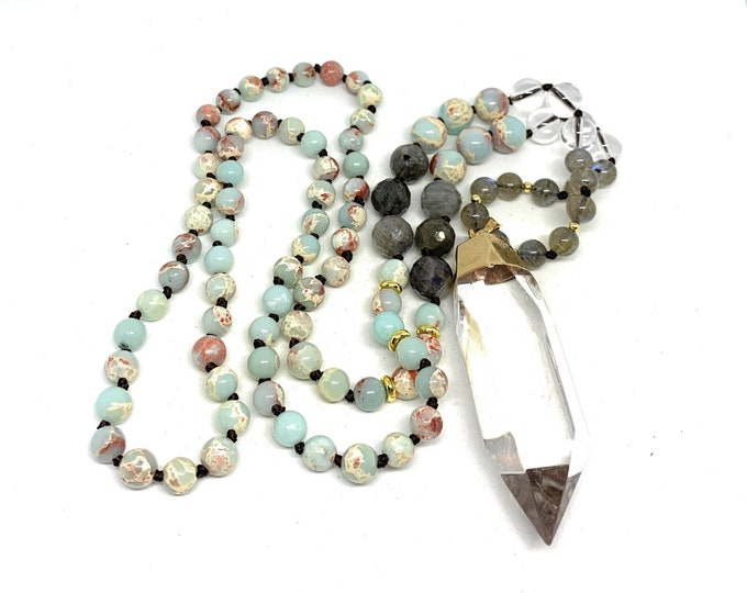 Multi gem colorful beaded long necklace, clear quartz crystal pendant accessory, hand knotted multi color strand, layering necklace