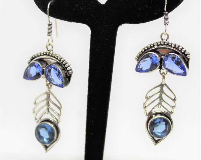 Blue topaz drop earrings, Mystic blue topaz earrings, Sterling silver dangle earrings, gift for her, statement earrings, gemstone accessory
