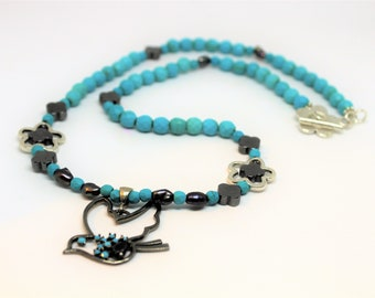 Turquoise pendant beaded necklace, silver and turquoise necklace, bird motif necklace, delicate blue accessory, unique gift idea for her