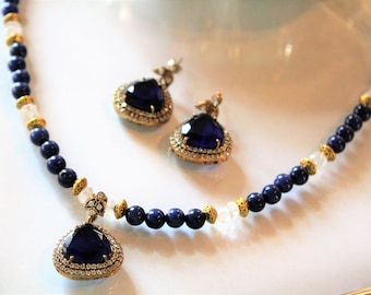 Blue sapphire set, sapphire necklace and earrings, two piece set, bridal set