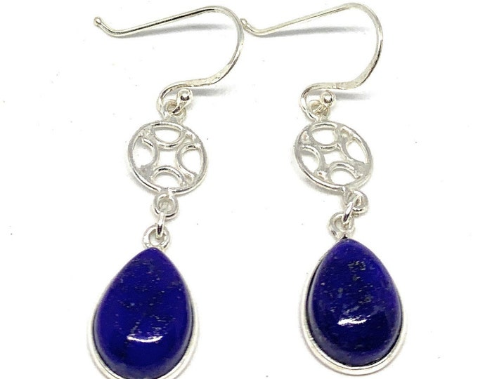 Lapis lazuli and Sterling silver drop earrings, SPECIAL OFFER, elegant dangle earrings, blue everyday accessory, unique gift for her