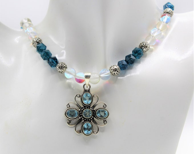 Blue topaz cross beaded necklace, blue cross necklace, rainbow and blue quartz necklace,