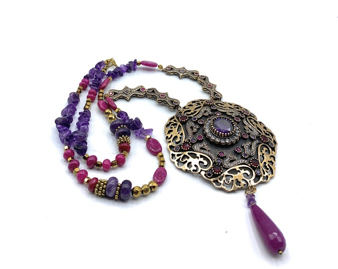 Ruby and amethyst jewel pendant necklace, gemstone beaded necklace, elegant statement necklace, unique wedding accessory for her