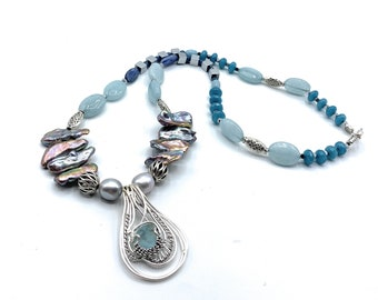 Aquamarine and pearl beaded long necklace, unique silver and gemstone pendant necklace, blue statement necklace