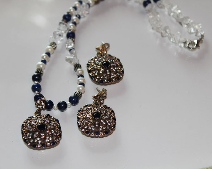 Blue sapphire and pearl set, bridal elegant set,sapphire beaded necklace and drop earrings, jewel pendant and earrings, elegant glamour set