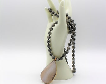Agate pendant long beaded necklace, hand knotted necklace, gray everyday accessory, unique gift for her, elegant layering necklace