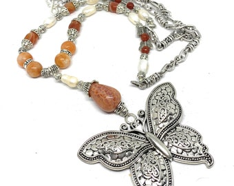 Butterfly pendant agate beaded long Y necklace, fall colors elegant strand, nature theme statement accessory, unique gift for women