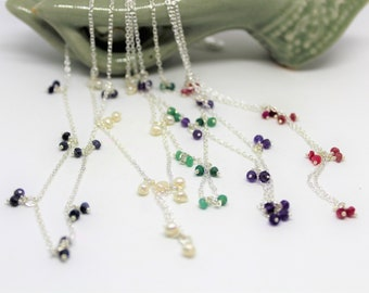 Gemstone dainty silver necklace, multiple gemstones layering necklaces, multi color delicate necklace, unique gift idea for her