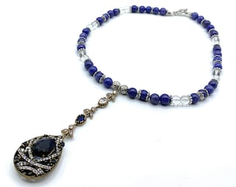 Blue sapphire jewel Y necklace, Gemstone Statement necklace, Something blue, Bridal glamour, Unique wedding gift for her