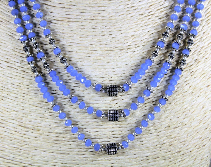Blue chalcedony necklace, beaded necklace, statement necklace, multi strand necklace, gift idea, classic elegance, gift for her