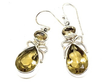 Lemon topaz and Sterling silver drop earrings, gemstone dangle earrings, unique statement accessory for her, elegant gift for women
