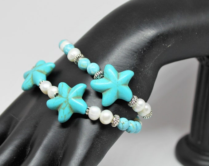 Turquoise and pearl beaded bracelet, SPECIAL OFFER, Star motif elegant accessory, double strand bracelet, 7.5 inches bracelet, gift for mom