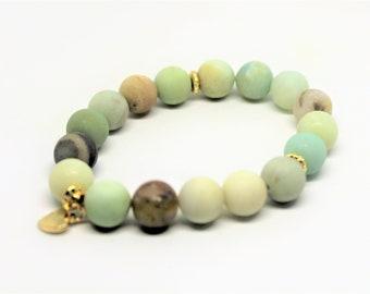 Amazonite beaded bracelet, gemstone charm bracelet, large bead stacking bracelet, unique gift idea for her, elegant accessory