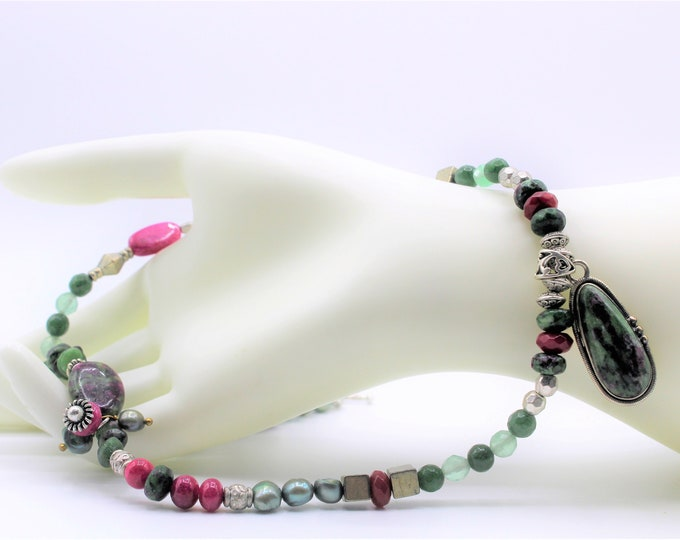 Ruby and ruby ziosite long necklace, pearl and gemstone pendant necklace, colorful beaded necklace, unique elegant accessory