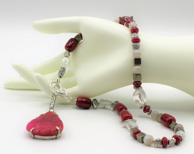 Ruby red Y beaded necklace, pink and gray pendant necklace, Valentine's day gift, unique gift idea for her
