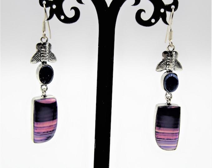 Purple agate drop earrings, long dangle earrings, colorful accessory, gift idea, gift for her