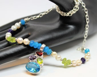 Gemstone beaded necklace, multi gem necklace, colorful accessory, color cluster pendant necklace, unique gift idea for her