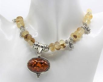 Baltic amber pendant beaded necklace, golden quartz plus size choker, elegant statement accessory, unique gift for women